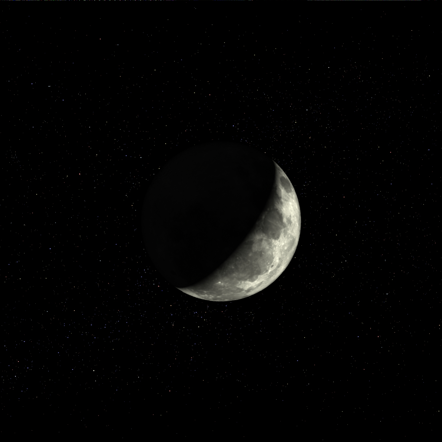 Here is a picture of a waning moon with a starry background