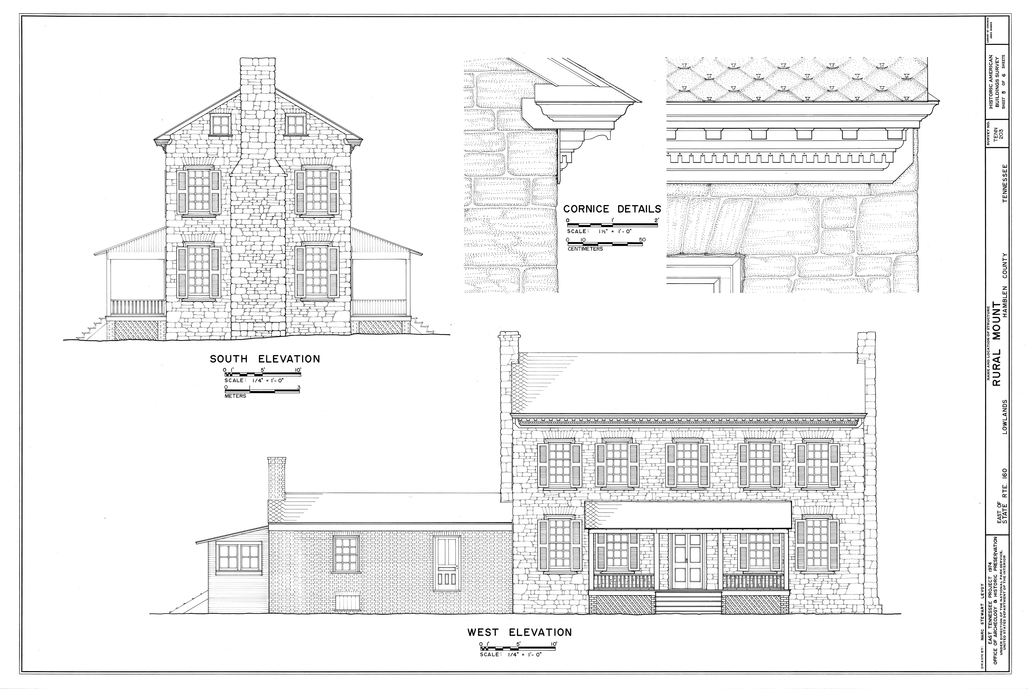 Stone Wall Elevation Drawing : Measuring buildings for the historic american survey