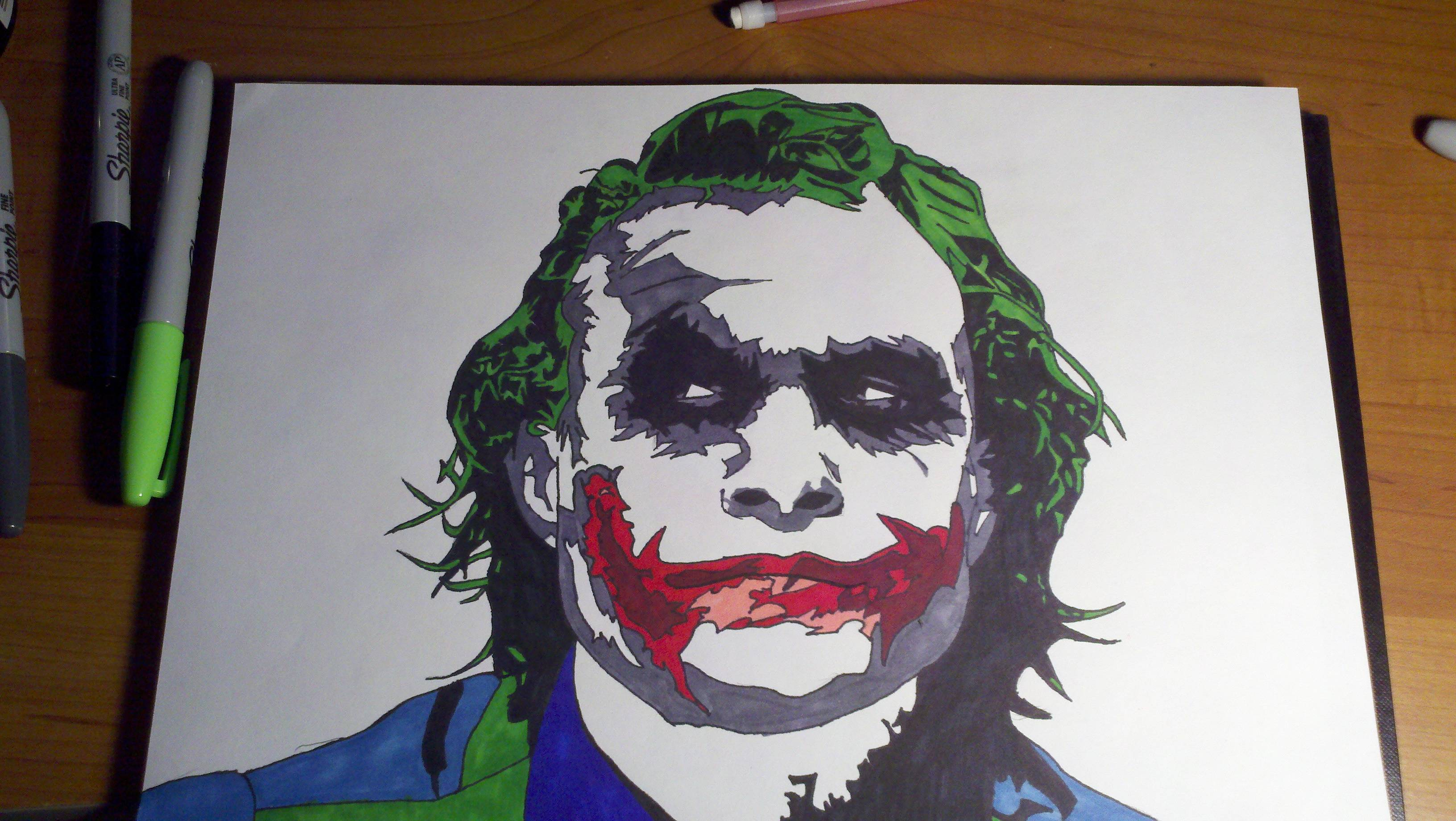 So I Bought A 24 Pack Of Sharpies And A Friend Requested That I Draw The Joker With Them What Think Guys