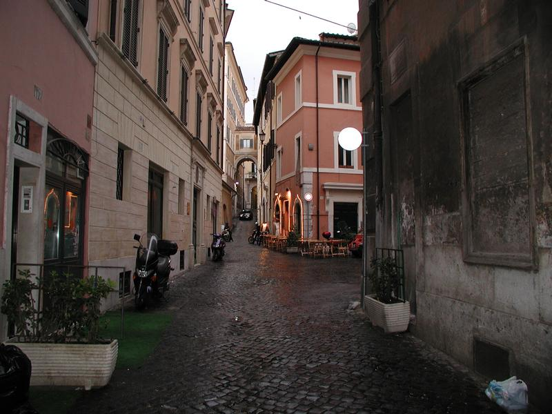 Old Town Street And Mediterranean Architecture In Rome, Italy ...