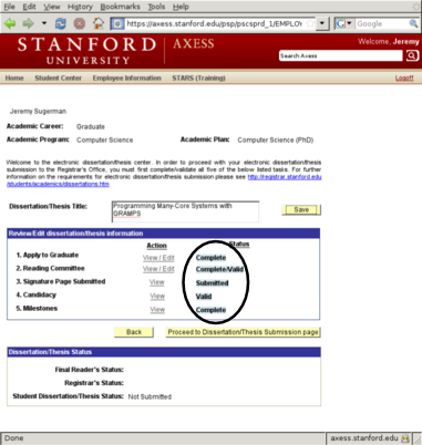 Dissertation submission stanford
