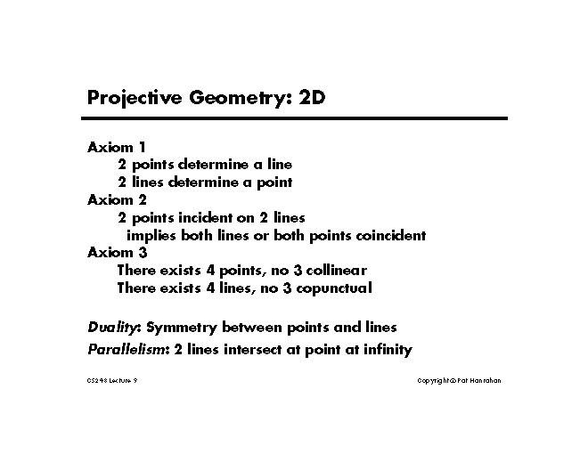lecture 9 2d projective geometry